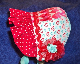 Winter Baby Girl  Bonnet Red and Aqua Lined with Fleece Michael Miller