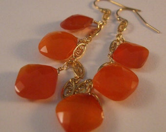 Gemstone Dangle Earrings, gemstone earrings, gold earrings, dangle earrings, drop earrings, carnelian earrings, cluster earrings, carnelian