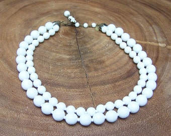 REDUCED!!!  White Milk Glass Double Strand Necklace Signed Miriam Haskell