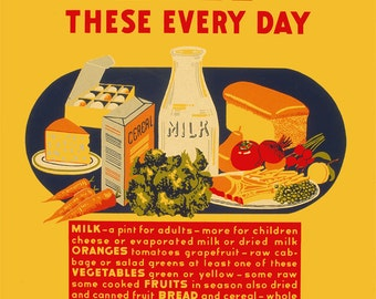 """WPA Era Vintage Giclée Poster Reproduction of Healthy Foods Poster  """"Eat These Everyday"""""""