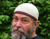 Ships Immediately! Mens Cotton Cooling Cap Crocheted in Oatmeal w Chocolate Band