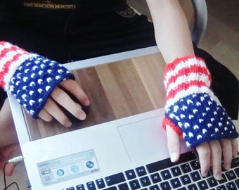 Hand knit fingerless gloves, American Flag, US Flag, United States Flag, Red White Blue for mens or womens winter accessories