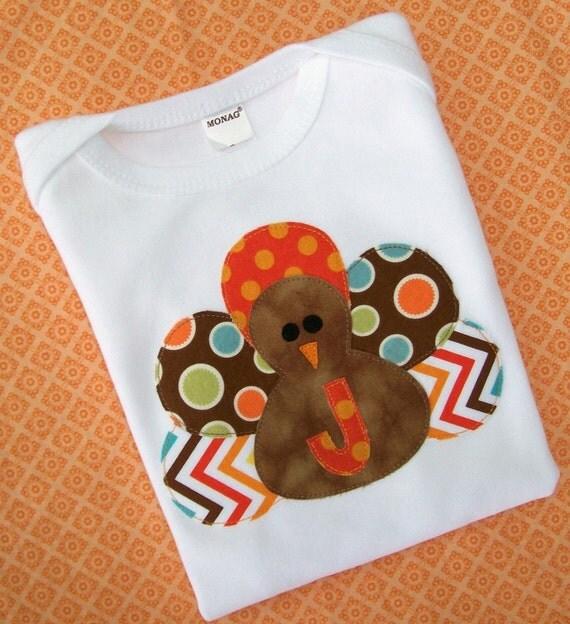 Turkey Appliqued Shirt -  Boy -  Long or Short Sleeve-  - personalized