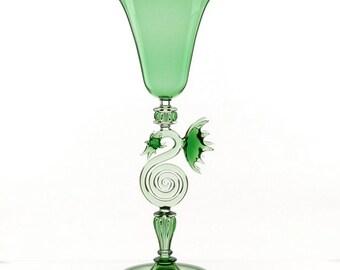 Green Dragon Goblet- Art Glass
