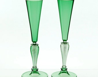 Hand blown glass champagne toasting flutes, green glasses