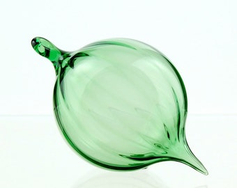 Hand Blown Glass Ornament, Scalloped Green