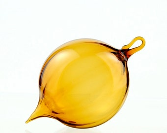 Hand Blown Glass Ornament, Scalloped Amber Yellow