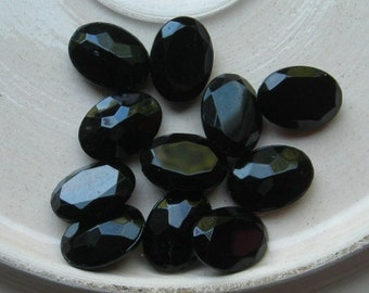 Vintage Glass Cabochons Black Onyx Glass Faceted Cabs 18x13mm Oval  Lot of 10