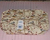 1 handmade Set of 2,4 or 6 Chickadee Placemats with a Center Round Made In Maine bird chick-a-dee by Carol's Country Crafts