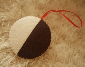 Felt Christmas Ornament - Black and White Cookie - Half Moon Cookie - Personalized on back