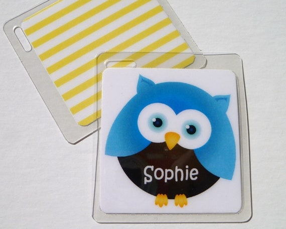 Owl Party Favor Kids Bag Tag Owl Name Tag Diaper Bag Tag Owl
