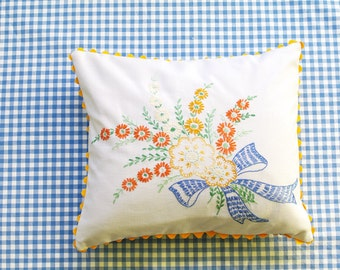 Floral Bouquet Pillow- Vintage Hand Embroidery- Cottage Chic Decor- Recycled- Shabby Chic-Includes Insert