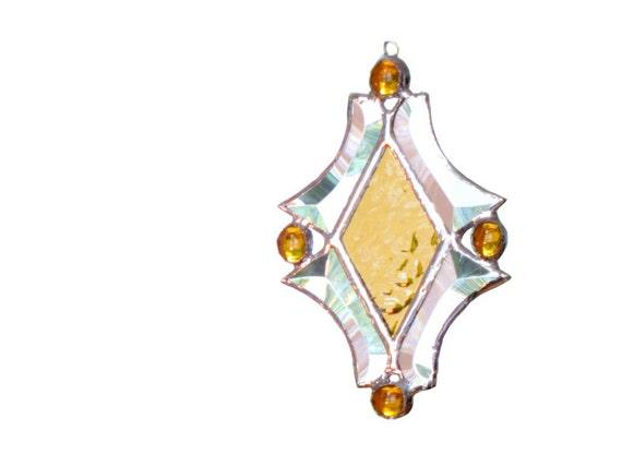 Stained Glass Suncatcher Yellow Diamond Bevels Handmade OOAK