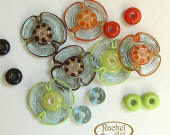 Colorful Flower Lampwork Glass Beads, FREE SHIPPING, Handmade Glass Disc Beads Set - Rachelcartglass