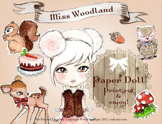 Miss Woodland - INSTANT DOWNLOAD Printable Paper Doll&envelope