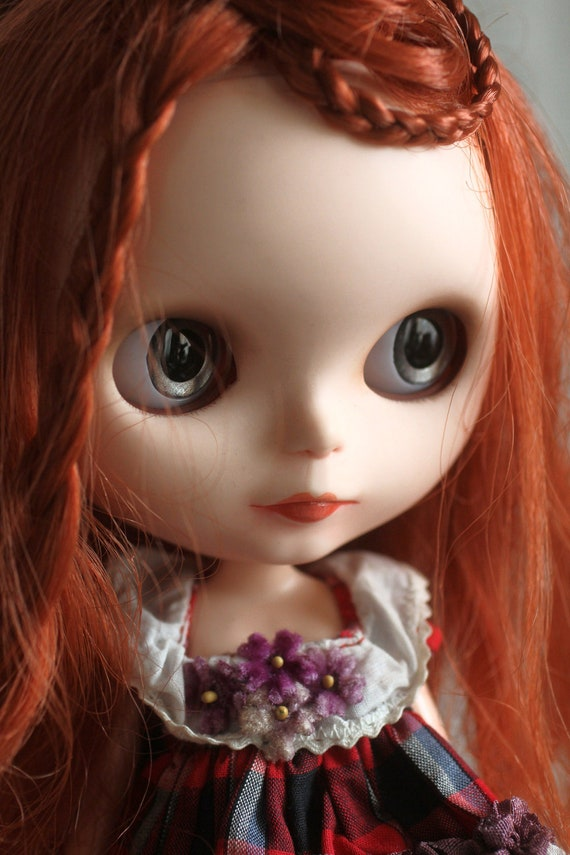 Phoena- A Mab Girl - custom Blythe doll, ooak Mab Couture dress, stand, accessories and original cameos by Mab Graves