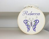 Custom Name Embroidery Personalized Hoop Purple Butterfly - Unique Gifts For Children