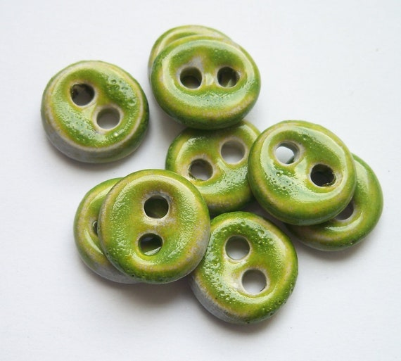 Small Lime Green Ceramic buttons