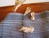handwoven twill towel with varying stripes