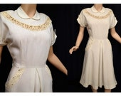 Vintage 40s Dress // Bisque Linen Dress with Lace and Rhinestones // Garden Party Wedding Dress B38