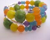 Jade Memory Wire Bangle, Memory Wire Bangle, Kazuri Beads