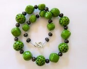 Kazuri Bead Necklace in Green and Black Spots  RESERVED FOR MELISSA