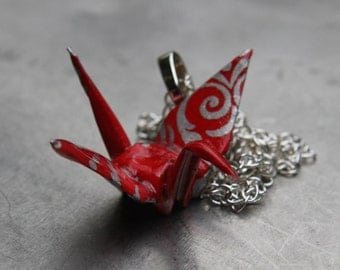 Origami Crane Necklace - Large Origami Pendant - Red with Silver Swirls