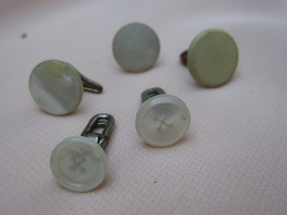 Vintage silver tone brass tone mother of pearl and 1 plastic shirt studs. Wholesale lot set of 5.