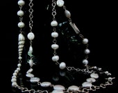 Sterling Silver Necklace of freshwater pearls, Sterling silver chain, Sterling silver .....