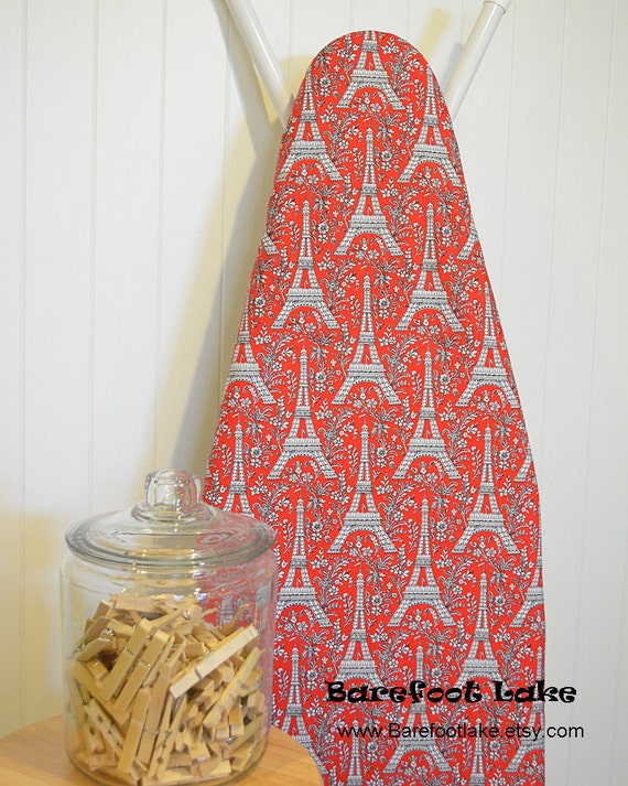 Designer Ironing Board Cover - Michael Miller Eiffel Tower in Red