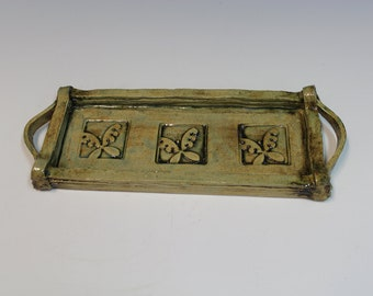 Butterfly Stoneware Serving Tray