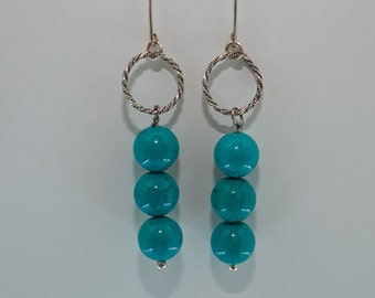 Turquoise and Sterling Silver Braided Circle Dangle Earrings