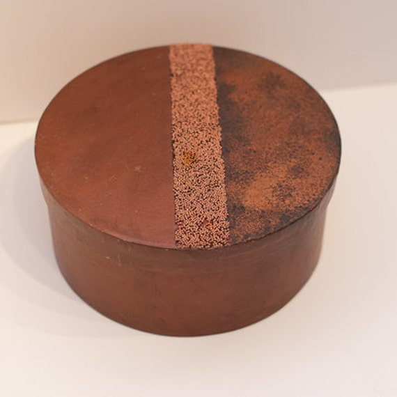 Round Decorative Boxes: Large Round Copper Decorative Paper Mache By