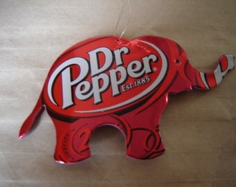 Elephant Magnet or Christmas Ornament-Recycled Soda Can Art- made from a Dr. Pepper can