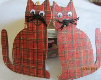 Orange Plaid Kitty Cat Ornament-Mixed Media Decoration Ornament-Fabric Kitty Christmas Ornament-Handmade Cat Gift Tag