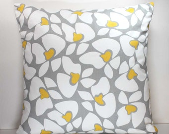 18 Inch Decorative Throw Pillow Cover -  Yellow and White Flowers on Gray - Invisible Zipper Closure - Fabric on Both Sides