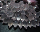 AAAA - High Quality Amazing Flawless Trully Natural Pink - ROSE QUARTZ - Faceted Dew Drops Shape Briolett size 12 - 14 mm long - 21 pcs