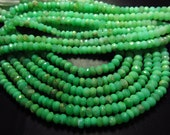 7 inches - Full Strand - Gorgeous High Quality - Green - CRYSOPHRASE - Micro Faceted Rondell Beads size 5 mm approx