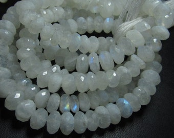 14 Inches - Rainbow Moonstone Micro Faceted Rondelles - Fire Moonstone - Very Fine Quality 6 - 7  mm Approx