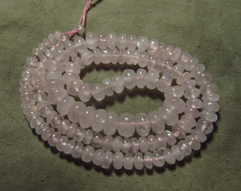 16 inches - Gorgeous NIce Pink Colour Natural Rose Quartz - Smooth Polished Rondell Beads Huge Size - 4 - 8 mm approx