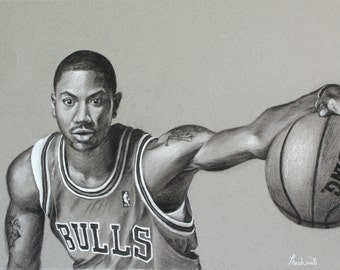 "Derrick Rose - Chicago Bulls - Original Charcoal Portrait  14"" x 18"""
