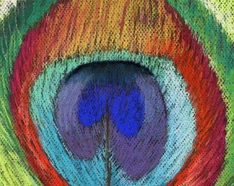 "Peacock Feather - Original Pastel Painting Print 8""x10"""