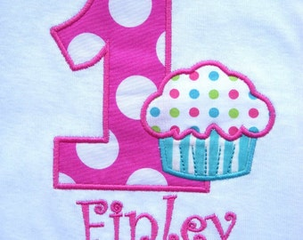Girls' First Birthday Cupcake in Hot Pink and Aqua  T-Shirt or Bodysuit