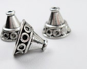 Silver Plate Bead Cap , Antiqued Silver 12x14mm    18pcs