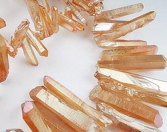 Mystic Coated Quartz points,  Apricot, Gemstone Beads, Dagger Shape Quartz, 20-30mm  Sold by 4-8  pieces