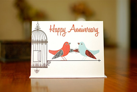 Orange and Aqua Love Birds Happy Anniversary Card on 100% Recycled Paper