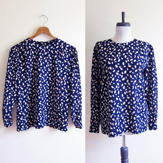 Vintage 1980s Blouse / Navy & White POLKA DOT Silky Top / Size Small or Medium