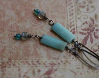 Amazonite- Mixed Beads, Blue-Water,Simple, Everyday Wear,Simple,Solid Copper