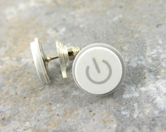 Power Up, Studs, iEarrings, Handmade, Recycled, MAC Power Buttons, made to order