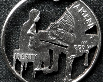 Piano Player Hand Cut Coin Jewelry